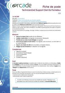 Fiche de poste Technicien(ne) Support Client & Formateur
