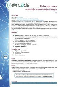Fiche de poste Assistant(e) Administartif(ve) trilingue